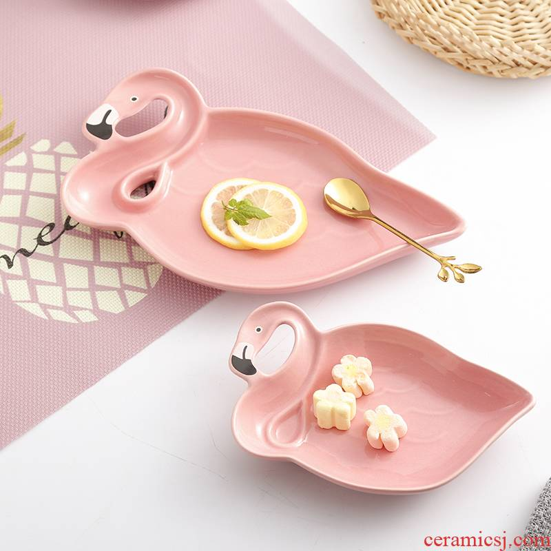 INS pink flamingo ceramic plate small bowl breakfast tray was dessert plate of fruit dish food pictures