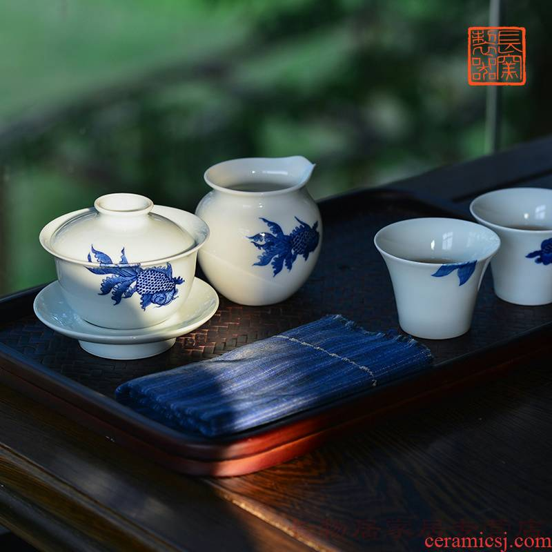 Marriage offered home - cooked at flavour hand - made porcelain tea set of jingdezhen pure manual fair cup a cup of tea cups