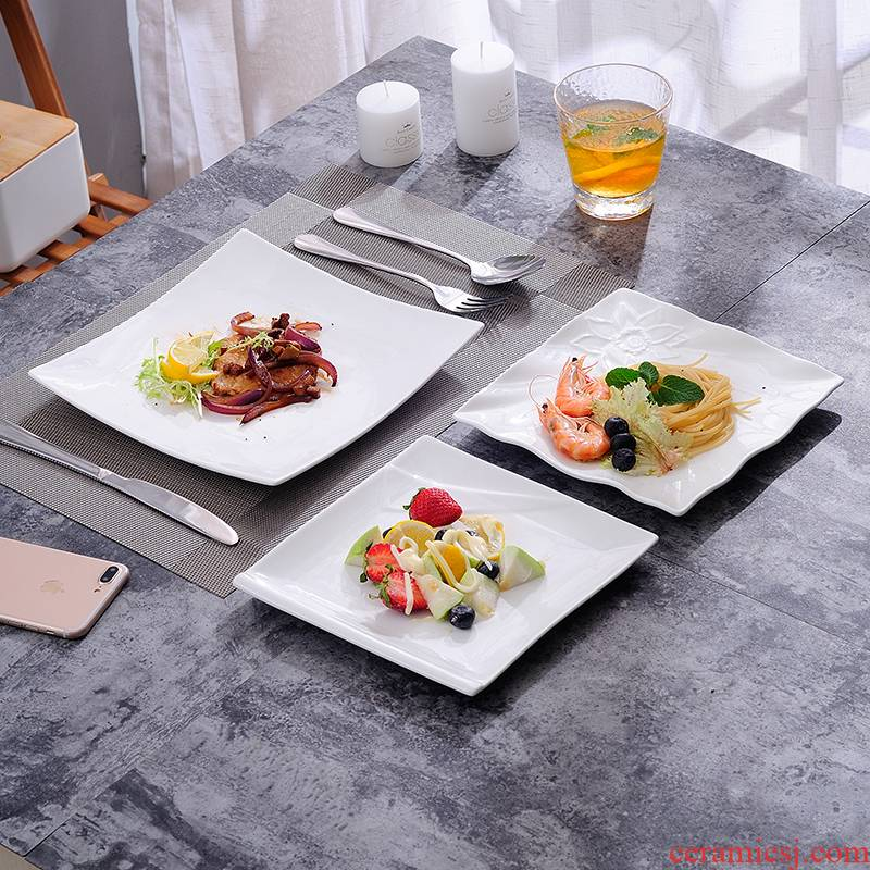 Western food dish steak plate of creative white snack flat dish dish household ceramics tableware fish dish