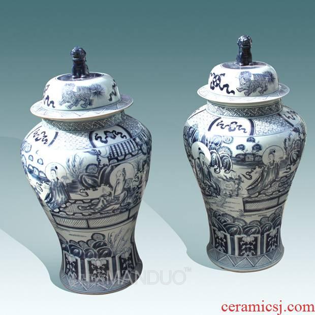 Jingdezhen ceramic floor big vase hand - made the general character of the big heavy cover pot jugs