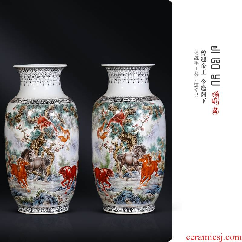 Jingdezhen ceramics of hand - made of powder enamel vase seal hou Chinese style living room decoration immediately curio collection furnishing articles