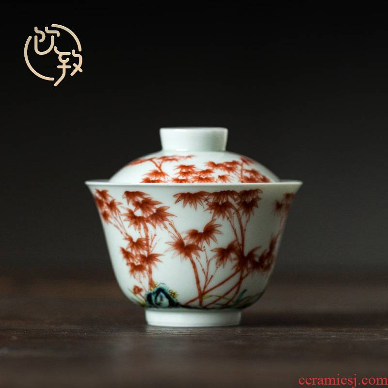 Ultimately responds to restore ancient ways tureen jingdezhen manual only three bowl of individual not hot Chinese tea bowl large tea cups