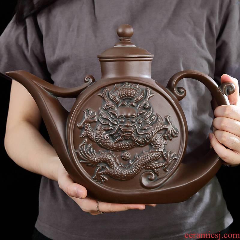 Purple sand tea set imitation bronze color restoring ancient ways are it the slime pot of high - capacity Long Mei kung fu tea zhu mud