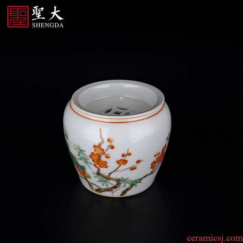 The big new pastel color painting of flowers and water bearing jingdezhen ceramics pure manual hand - made tea, kungfu tea accessories