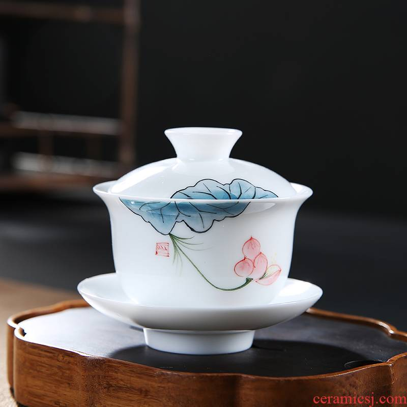 Flooded wood hand - made white porcelain tureen household small tea cups ceramic Japanese kung fu tea set three of the bowl to bowl