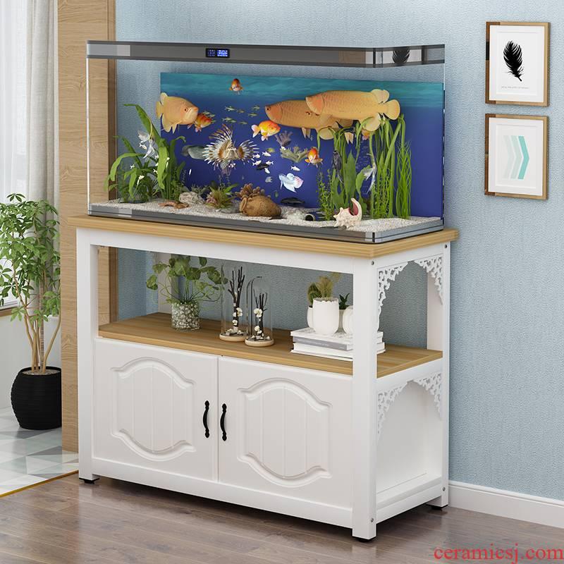 Small family sitting room aquarium fish tank bottom ark base grass aquarium metal frame, wrought iron European aquarium tank