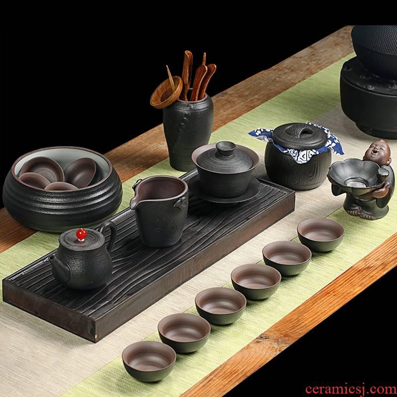 Household kung fu qiao mu, black pottery zen tea fair suit the teapot tea cups to wash a cup of tea six gentleman filtering