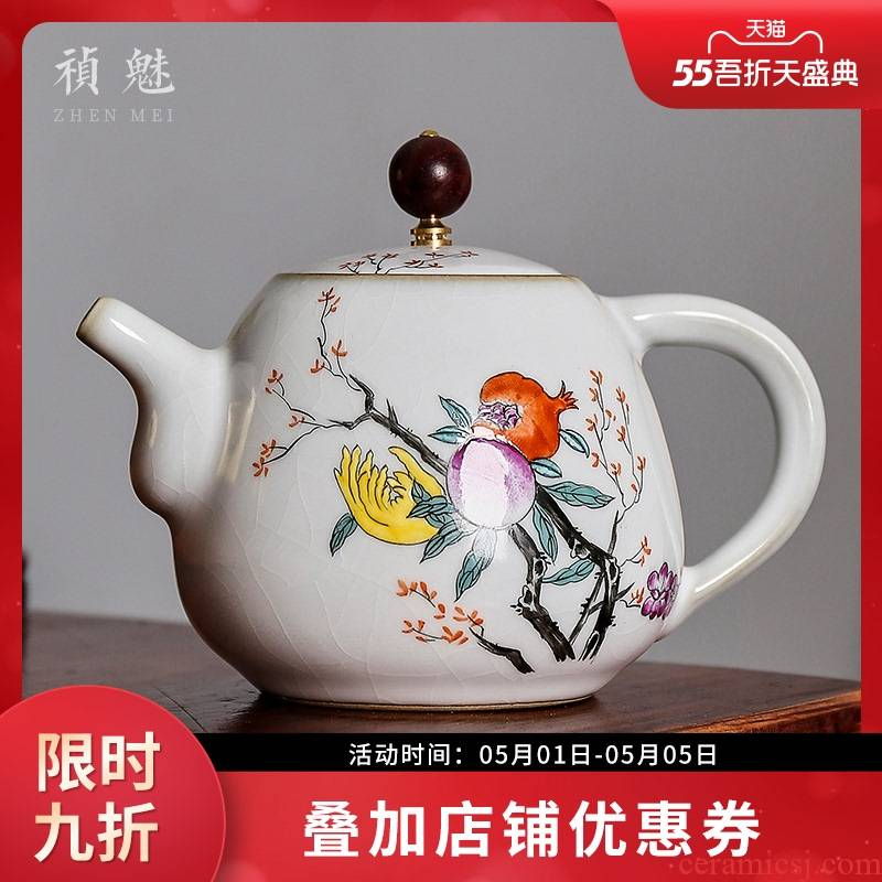 Shot incarnate your up hand - made sanduo jingdezhen ceramic teapot kung fu tea set household slicing can keep single pot teapot