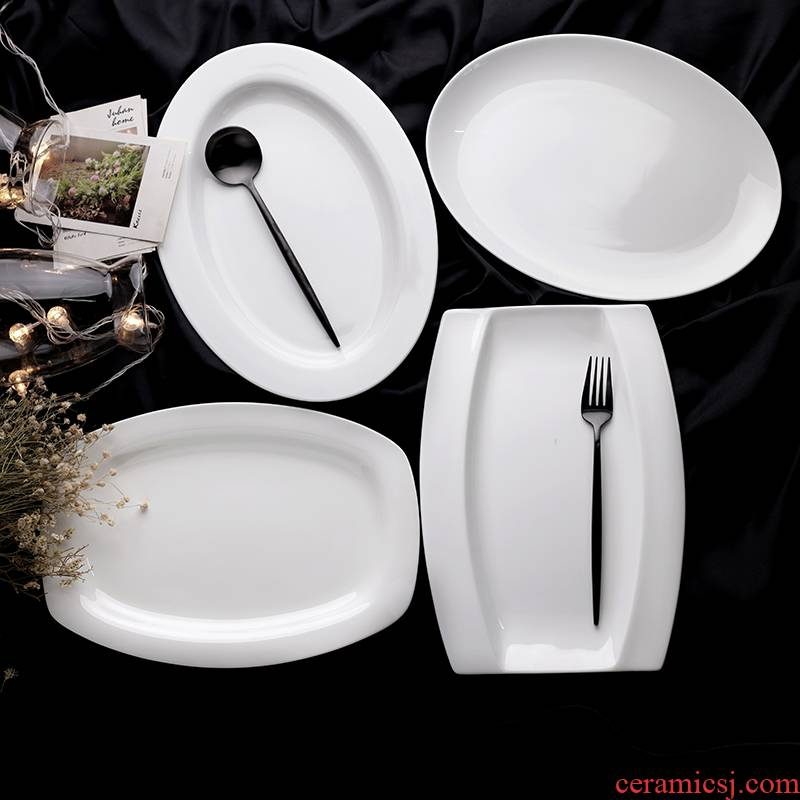 Put the whole fish 12 - inch plate 】 【 tangshan muxi ipads porcelain oval moon fish dish square Japanese fish dish