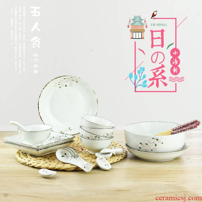 Japanese cherry blossom put five people eat 25 head suit to use dishes chopsticks rice bowls bowl dish dish household ceramics tableware suit