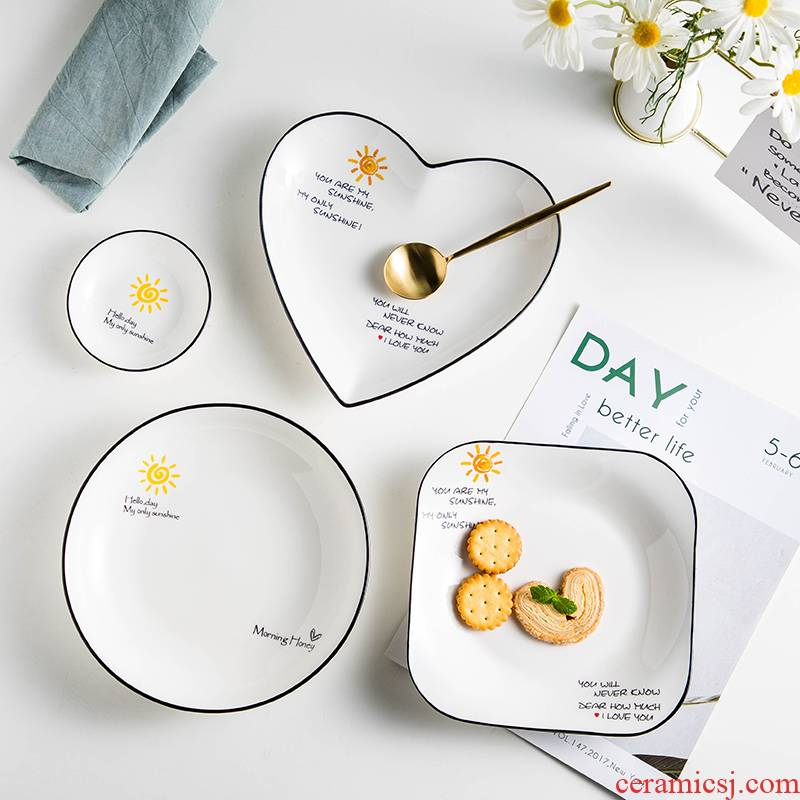 Four have the creative Nordic home new ceramic deep soup plate installed web celebrity ins wind all the breakfast tray