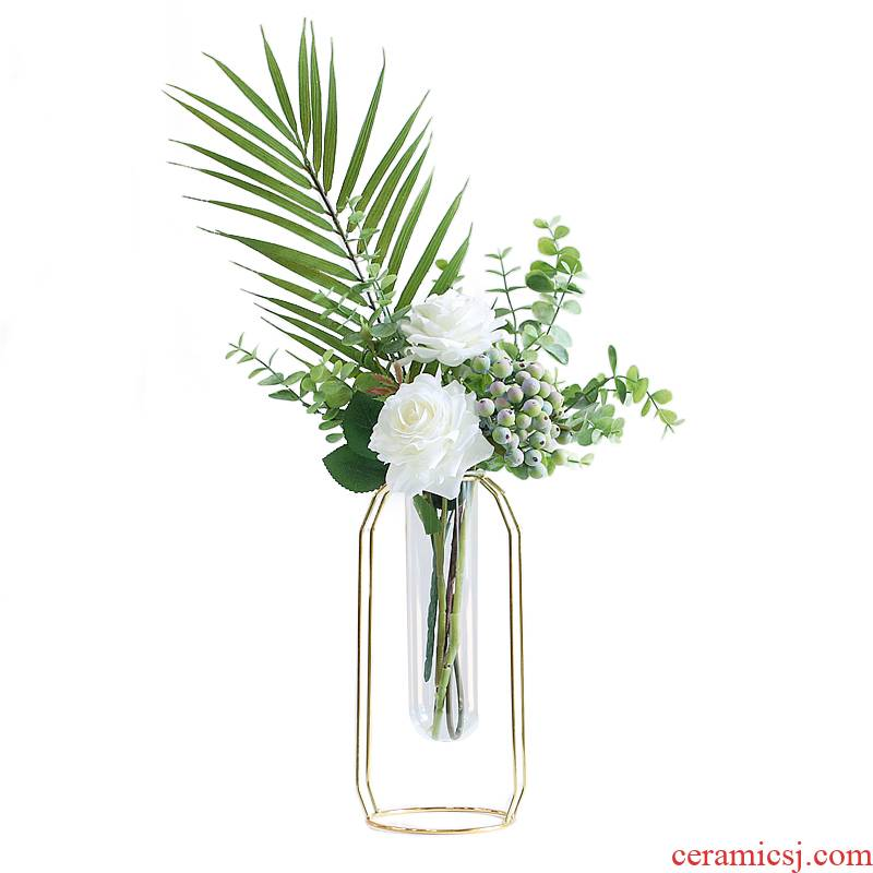 Ins Nordic, wrought iron flower implement ceramic flower arranging dried vase household adornment picture frame sitting room place small pure and fresh and frames