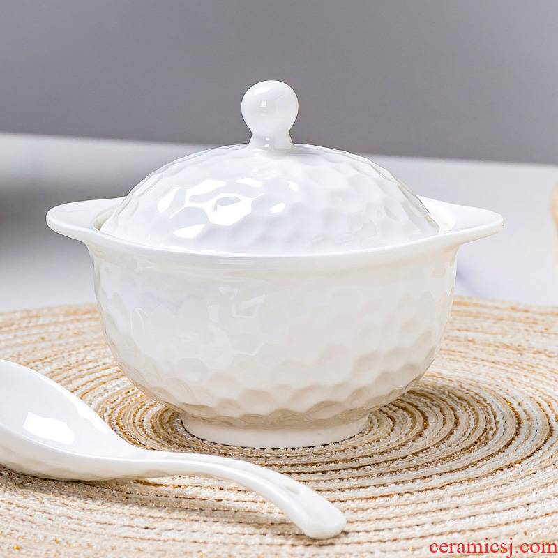 Dessert bowl of steaming white ipads China bird 's nest egg cup clay pot soup as cans soup bowl with cover water household ceramic stew stew