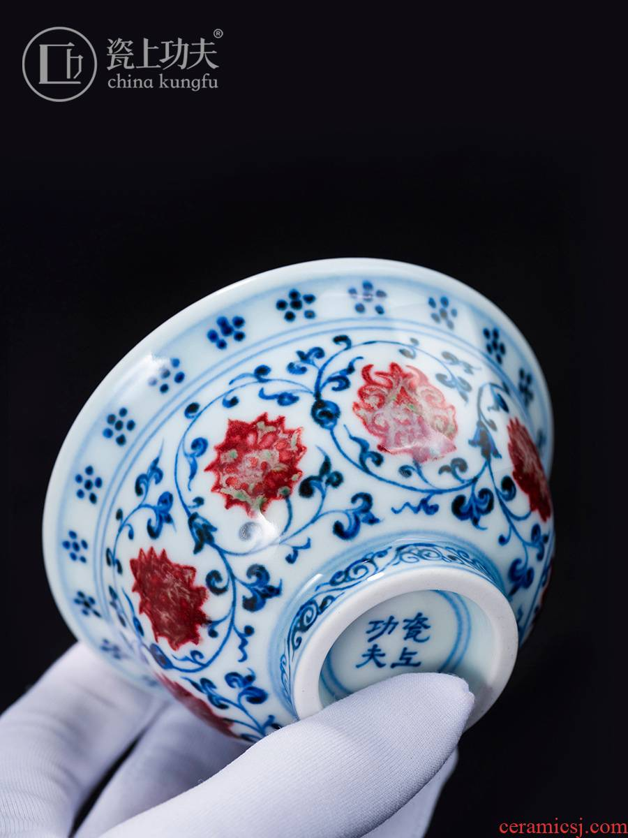 Imitation Ming yongle blue and white porcelain on kung fu hand pressure of jingdezhen youligong master cup antique hand - made of branch lotus cup