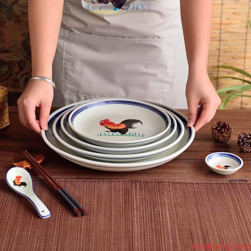 Ceramic rooster eat dish dish circular FanPan microwave plate deep dish dish dish soup plate western food fruit
