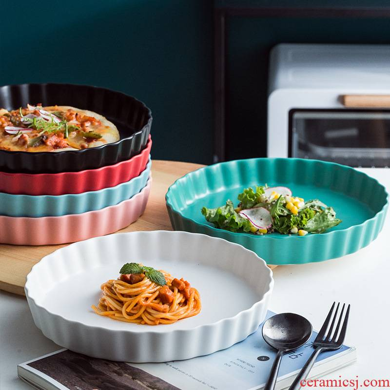 The Nordic household ceramic cake plate web celebrity baked pizza baking tray was creative steak western food dish plate