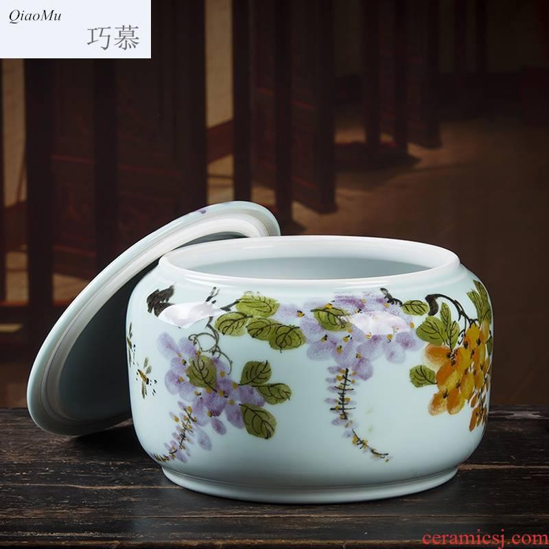 Qiao mu hand - made ceramic tea pot large storage wake POTS sealed as cans white tea tea cake as cans 5-8 cake home