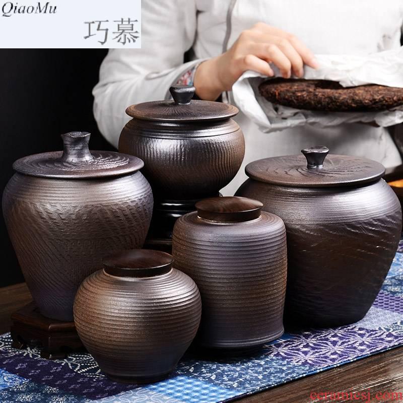 Qiao mu tea packaging gift box the tea caddy fixings barrels of puer tea pot seal size household porcelain restoring ancient ways