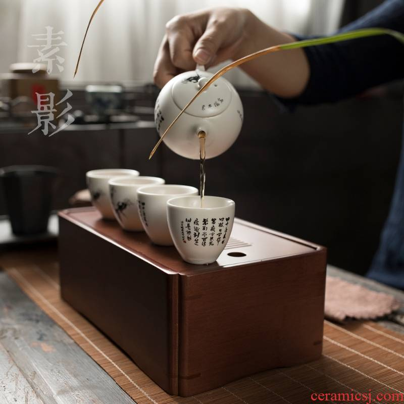 Qiao mu white porcelain bamboo box travel tea set is suing a pot of three to four cups of ceramic tureen hand grasp pot teapot