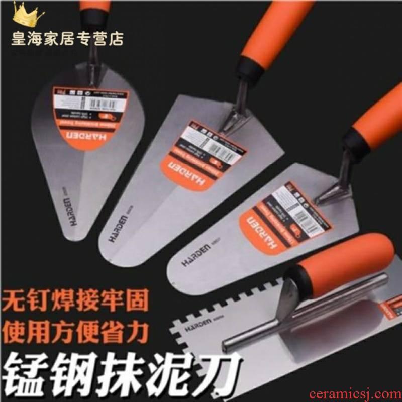 Ceramic tile knife tools ash wet plaster triangle shovel stainless steel brick building an artifact masons cement peach shape