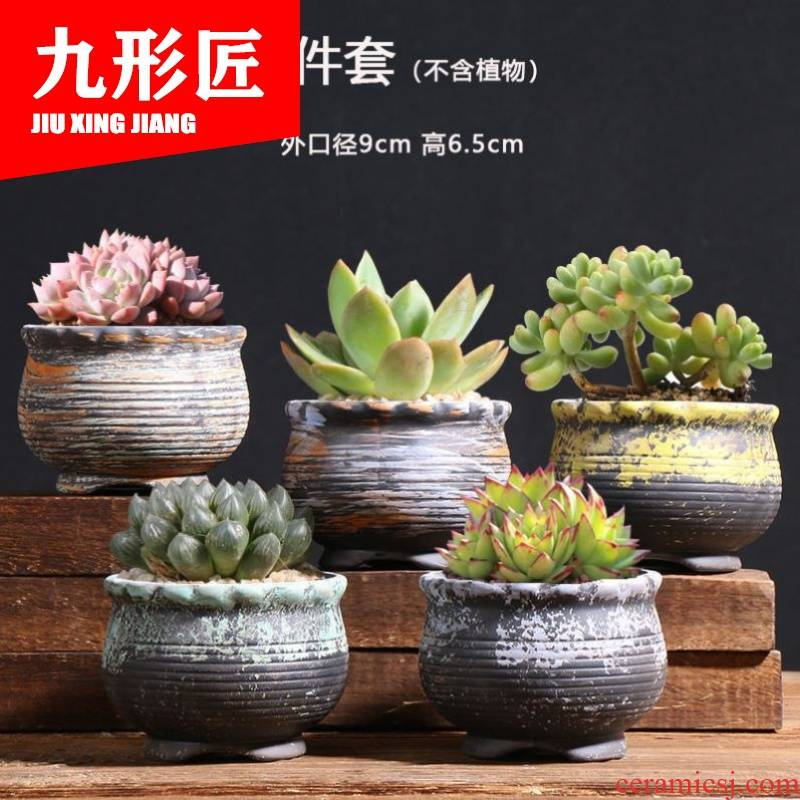 Ceramic and colorful contracted northern wind ins with tray was circular biscuit firing other green the plants potted flower POTS of flowers, fleshy