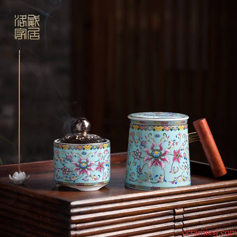 Colored enamel separation office cup tea tea cup office tea personal special ceramic tea set with cover glass