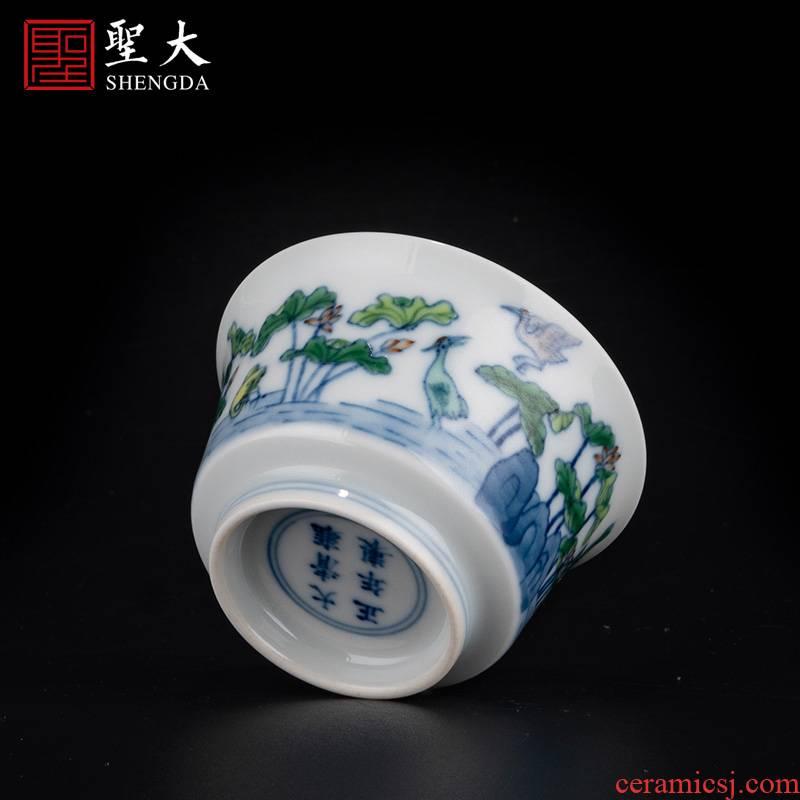 Holy big ceramic imitation yongzheng jingdezhen blue and white color bucket crane lotus pond grain wsop cup high - grade tea kungfu tea cups