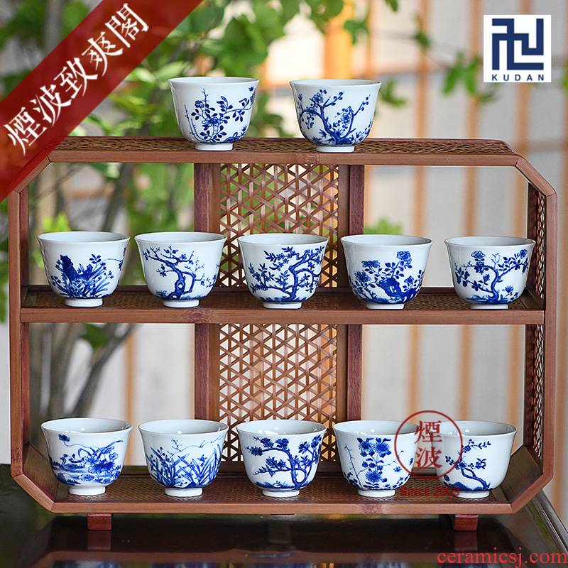 Jingdezhen nine calcinations syncretism. God nine suits for hand - made of blue and white porcelain tea cups
