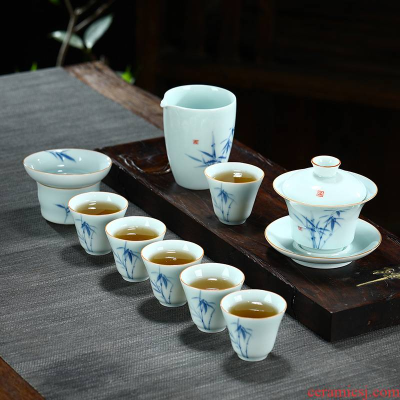 Hand - made kung fu tea set suit household gifts contracted teapot teacup tureen sample tea cup of a complete set of ceramic tea set