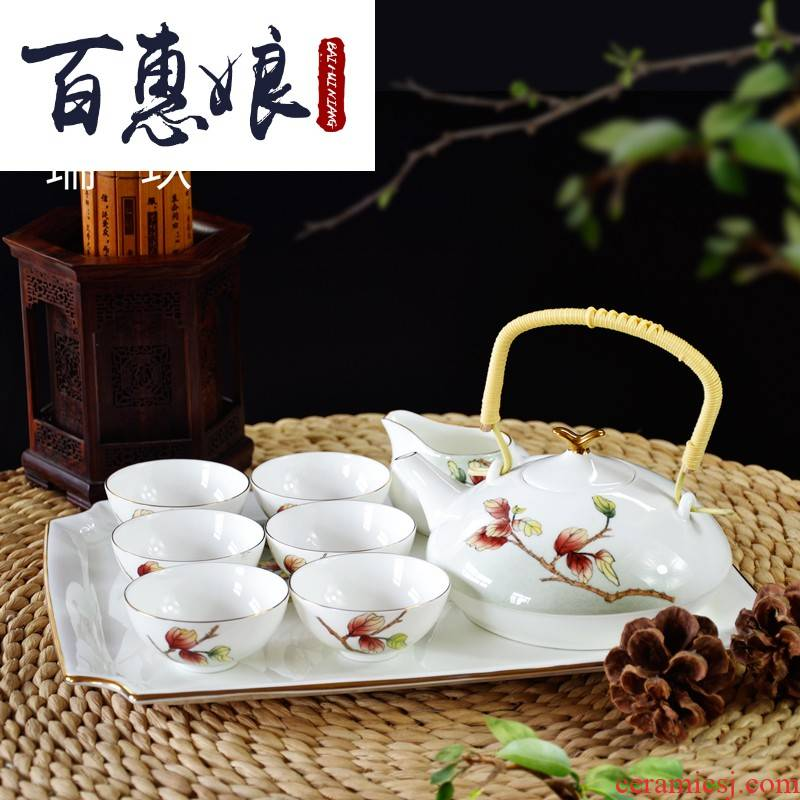 (niang hand - made ipads China tea set kit ipads porcelain ceramic checking made teapot teacup tea tray was set with reservation