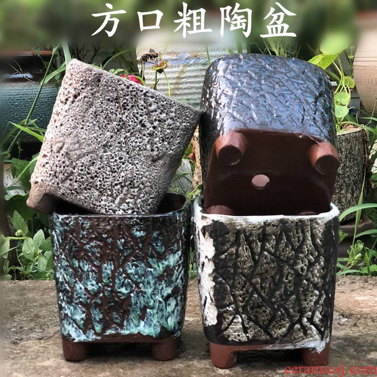 Restore ancient ways air square opening basin meaty plant pot ceramic flower POTS, fleshy contracted character coarse pottery purple flower POTS