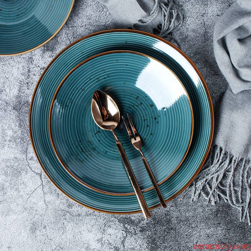 Nordic contracted wind ceramic plate thread pitting household food dish ltd. steak plate creative green salad plate
