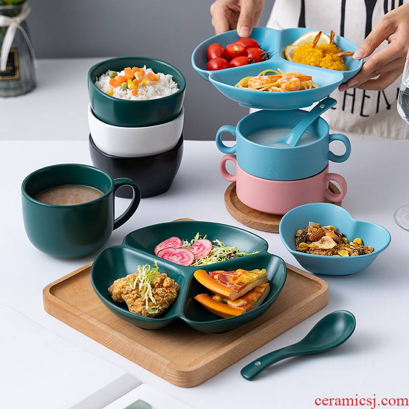 Utsuwa Nordic idea three separate plate household ceramics means dish plate one eat breakfast tray dish food