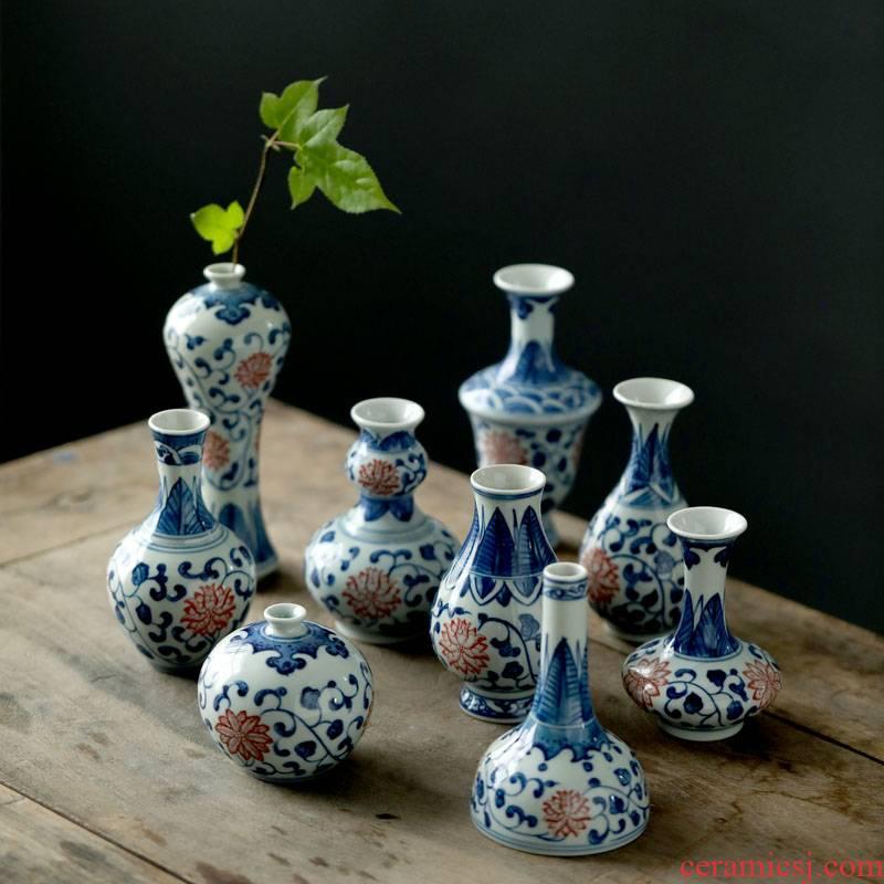 Jingdezhen ceramics antique blue - and - white hand - made mini floret bottle of flower tea hydroponic creative rich ancient frame furnishing articles