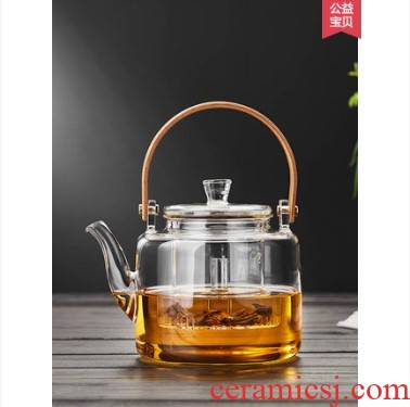 Cooking pot single electric TaoLu boil water pot of tea, heat - resistant glass high - temperature thickening girder large tea set