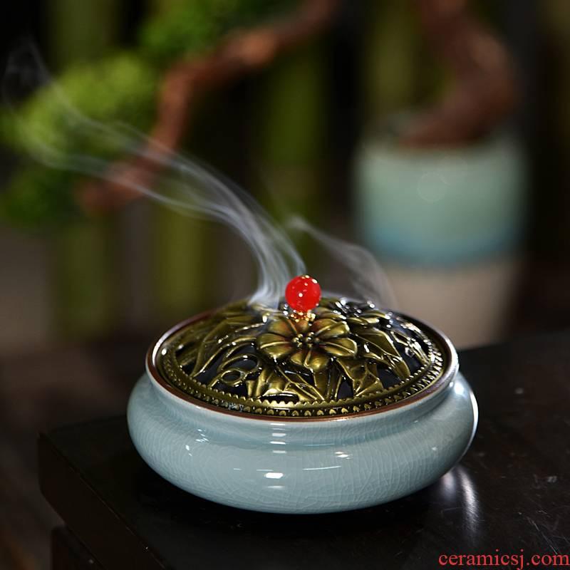 Hui shi creative large mosquito incense buner ceramic incense coil box of household interior drive midge kill mosquito repellent frame aroma stove pendulum temple