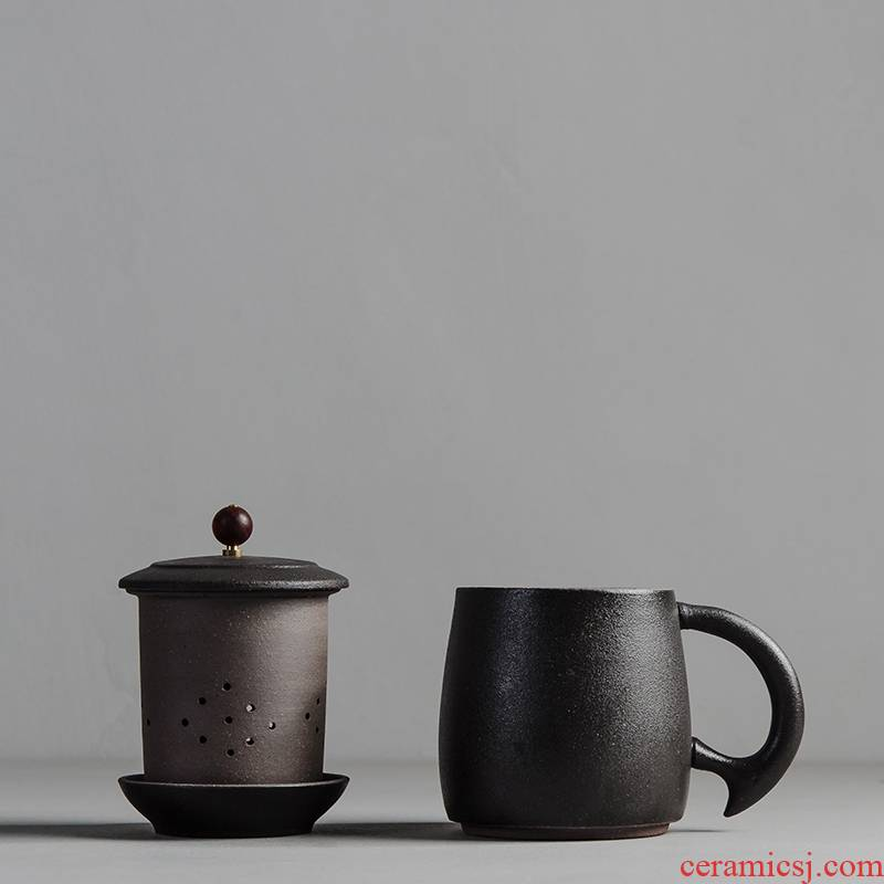 Qiao mu ceramic coarse pottery cups with cover four cups of office glass filter tea cup keller cup