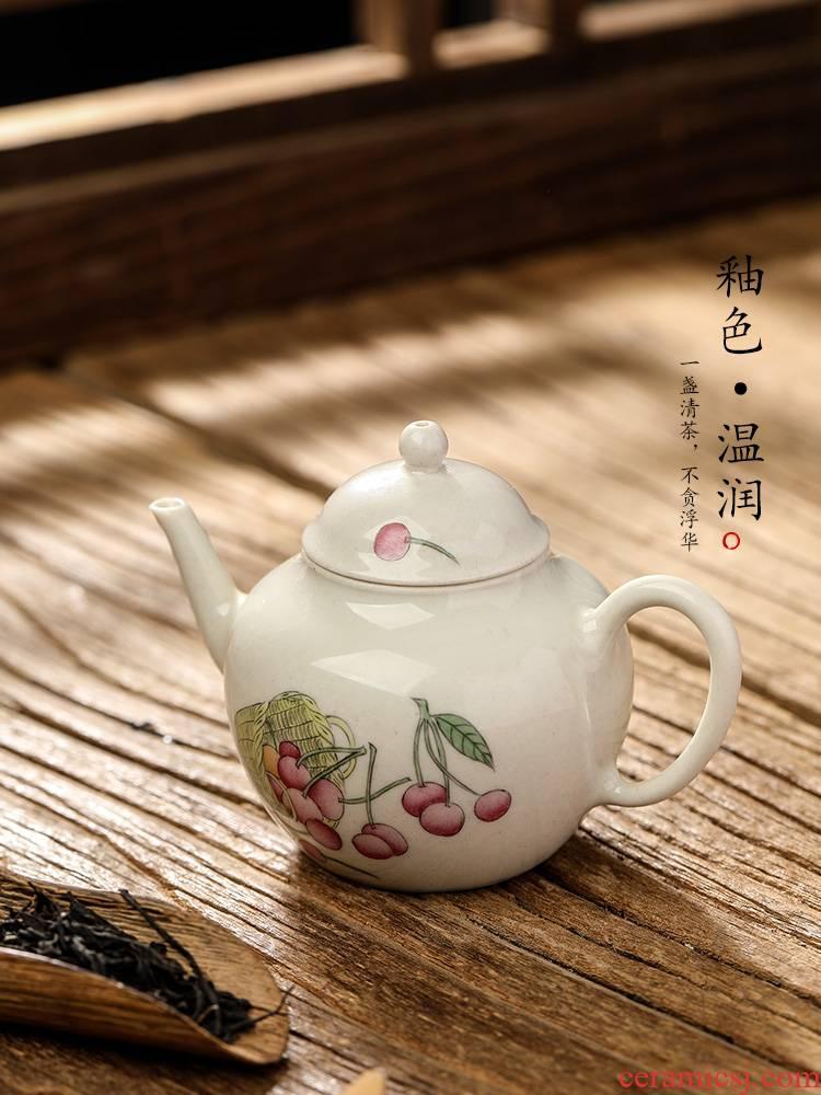 Plant ash glaze teapot single jingdezhen pure manual hand - made ceramic pot cherry kung fu tea pot of single pot trumpet