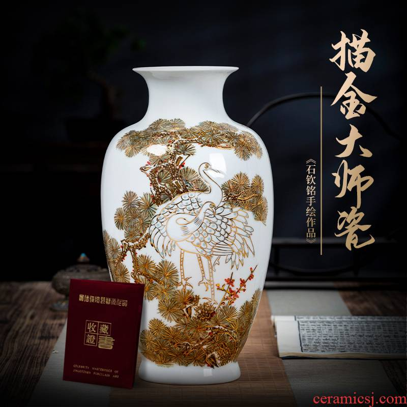 Jingdezhen ceramic paint hand - made vases furnishing articles sitting room flower arranging office of new Chinese style decoration porcelain arts and crafts