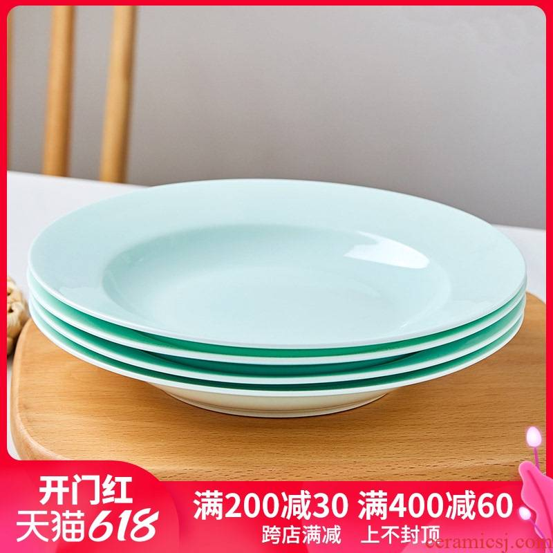 Jingdezhen blue glaze ipads porcelain tableware microwave deep all the household of Chinese style plates plate new ceramic 0