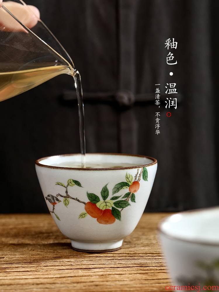 Jingdezhen pure manual ru up market metrix who cup single CPU hand - made persimmon sample tea cup only kung fu tea set, ceramic cups