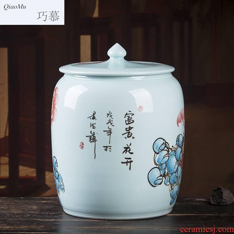 Qiao mu jingdezhen ceramic tea pot hand - made large seal can save up tea cake as cans white tea tea tea cake