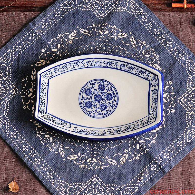 Blue and white porcelain lotus flower waist drum plate of cold dish special dishes