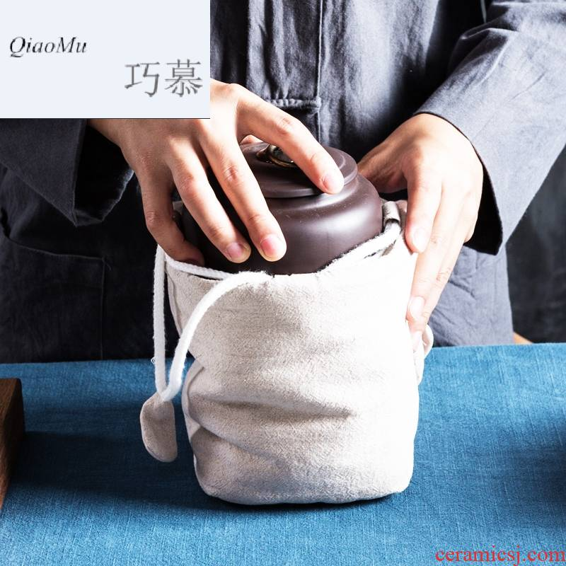 Qiao mu violet arenaceous seal caddy fixings trumpet travel pu - erh tea pot undressed ore portable mini POTS awake to receive package by hand