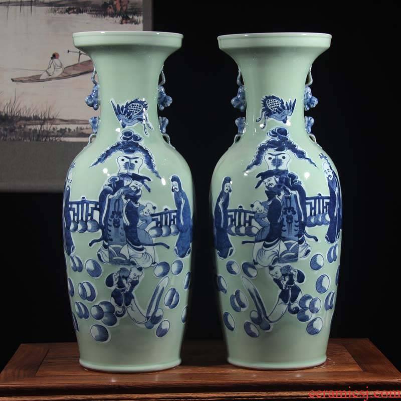 Jingdezhen double lion imitation word antique vase of dowry hand - made ceramic vase 60 Gao Qinghua ground vase