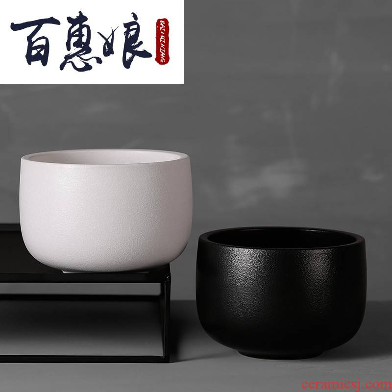 (niang hand wash to retro coarse pottery tea cups to wash to kung fu tea straight water jar in household writing brush washer accessories