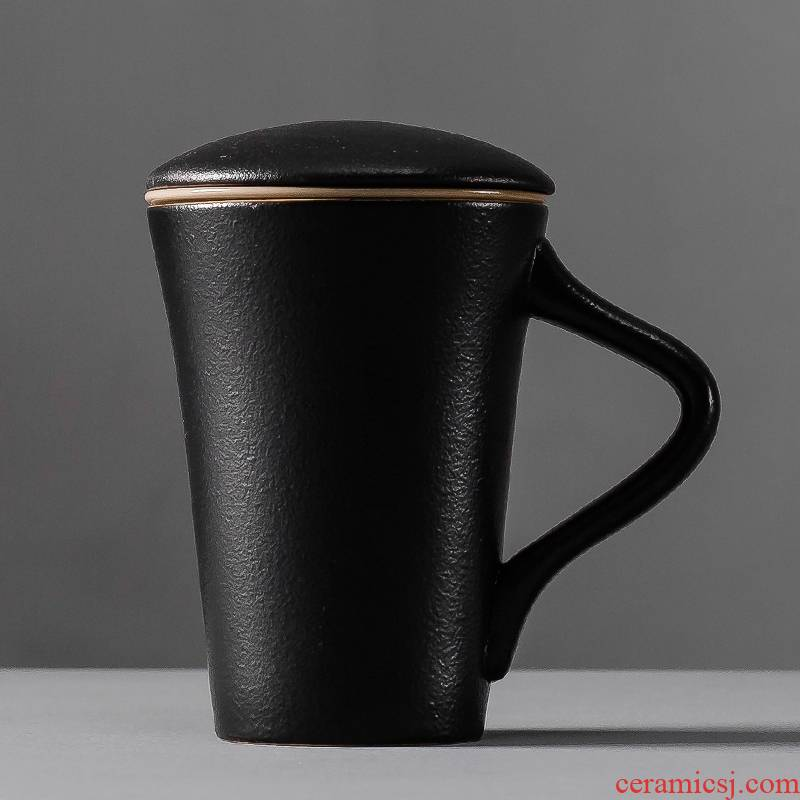 Qiao mu mark cup filter with cover ceramic cups creative cup contracted office cup tea cup move