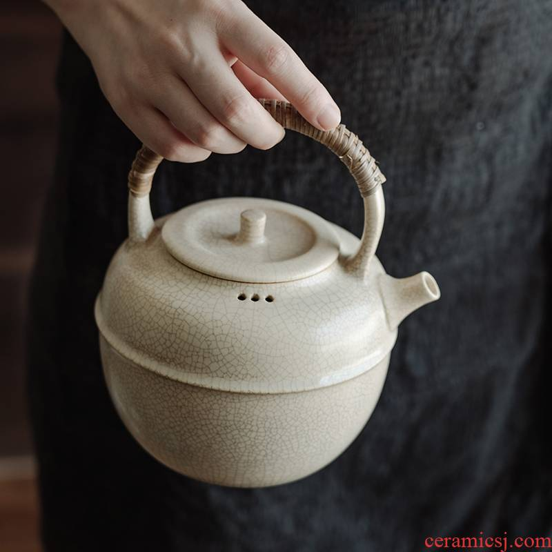 TaoMingTang plant ash pot boiling kettle round bead waist line girder capacity of 800 ml to send the old white tea 】 【