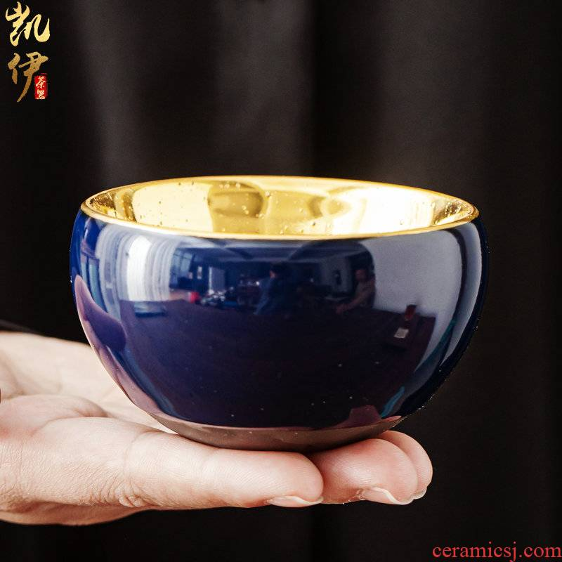 Small bowl of gold cup cup master cup ceramic iron sample tea cup kung fu tea cups jinzhan cup high - grade personal cup