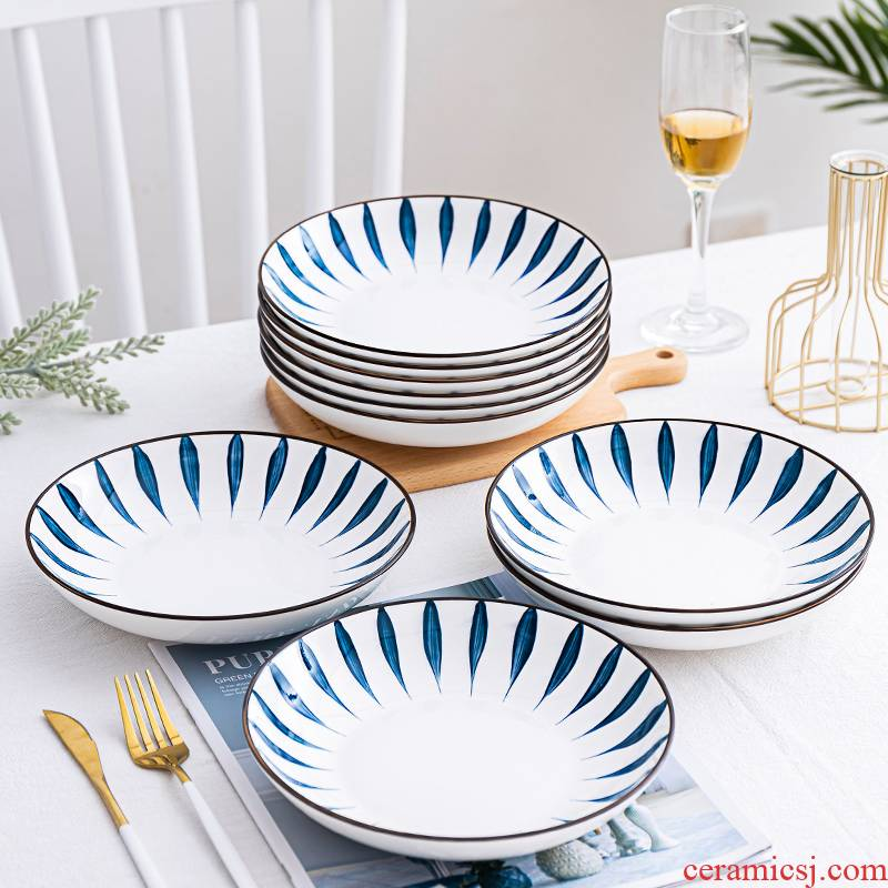 Plate suit household Japanese ceramic Plate (10 dishes dish fish dish soup basin creative combination Plate